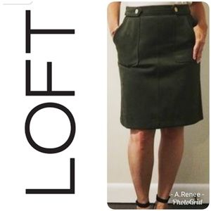 LOFT Army Green Suede Skirt - Size 8